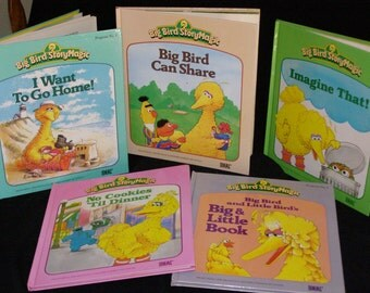 Vintage Big Bird Story Magic Childs Book Lot -5-Image That - Big Little Book - I Want to go Home -Big Bird can Share - No Cookies til Dinner