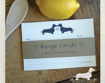 Doxie Love. A Baker's Dozen (Qty 13) Set of Recipe Cards -- (3x5, 4x6, Dachshund, Wedding Gift, Bridal Shower Favor, Ivory, Brown Kraft)