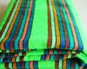 "Mexican Fabric Green Striped  31"" width by one yard"