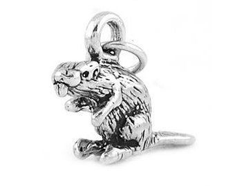 Sterling Silver Gopher Beaver Charm (3d Charm)