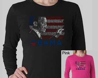 Women's Long Sleeve T-Shirt - President Barack Obama Created Out of All Lyircs to America the Beautiful