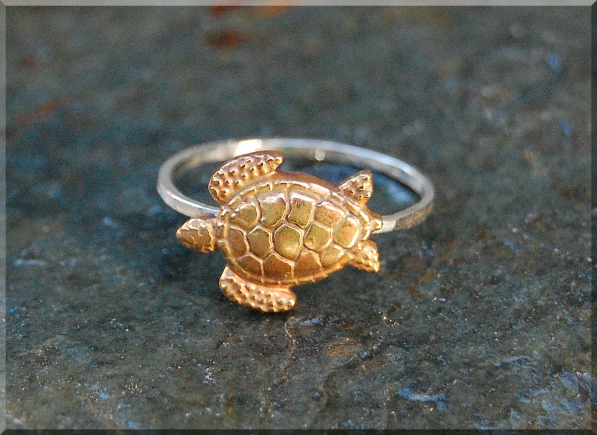 sea turtle stacking ring sterling silver and by