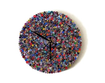 Unique Wall Clock, Large Clock, Recycled Paper Art,  Home and Living, Decor and Housewares, Eco Friendly Decor, Recycled Art,