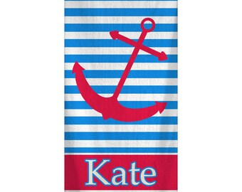 Personalized Nautical Anchor Beach Towel 30x60