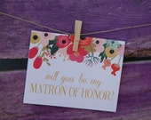 Will You Be My Matron of Honor: Peach Floral Banner Card