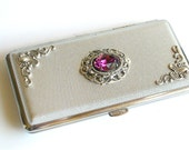 Silver Victorian Women Cigarette Case for  King Size to 120's Vintage Style Smoking Accessories  Swarovski Crystals