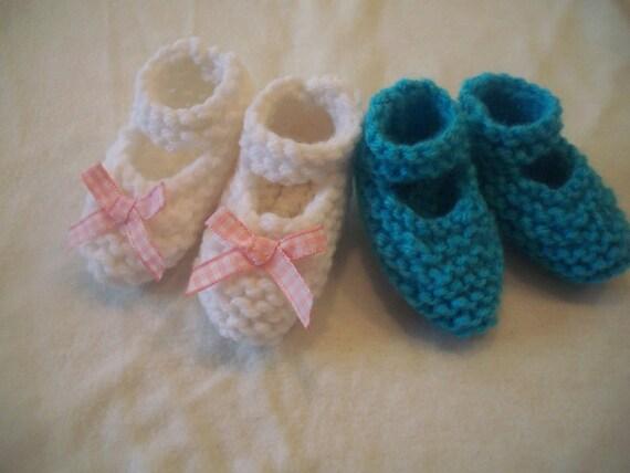 Preemie Baby Booties Knitting Pattern : Preemie Knitted Mary Jane Baby Booties