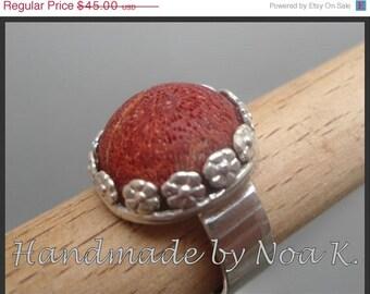 Natural Sponge Coral ring - Handmade coral ewelry