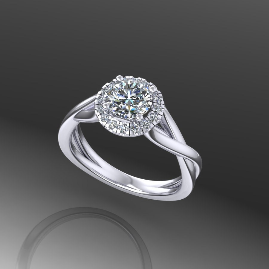 diamond halo round moissanite engagement ring style 150WDM