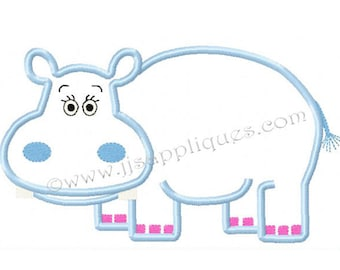 Instant Download - Hippo Applique Embroidery Designs Jungle Animals Zoo Animal Embroidery Applique - Hippo Applique 4x4, 5x7, 6x10 hoops