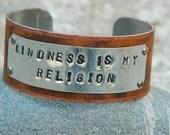 Inspirational bracelet Kindness is my Religion Inspirational jewelry quote jewelry