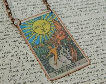 Tarot necklace pendant tarot jewelry The Sun mixed media jewelry supernatural