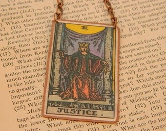 Tarot necklace or pendant tarot jewelry Justice mixed media jewelry