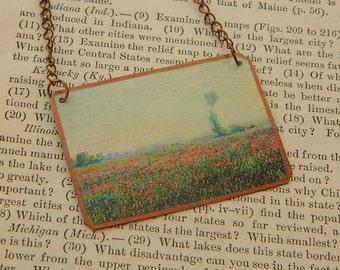 Monet necklace Poppy Fields Art jewelry Claude Monet