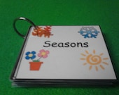 Seasons Flash Cards / Sight Words LAMINATED With Ring Option, also choose from MANY other THEMES! - Kids Educational Flash Cards