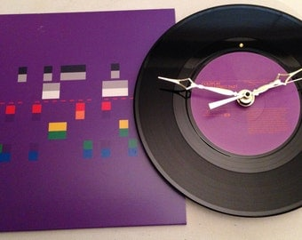 "Recycled COLDPLAY 7"" Record with Picture Sleeve / The Hardest Part / Record Clock"
