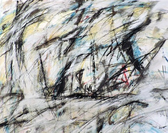 Untitled 9-12-14 (abstract expressionist painting, gold, white, blue, green, black, red, yellow)