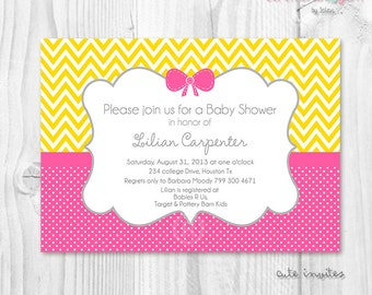 Baby shower girl hot pink and yellow chevron, polka dot  printable invitation