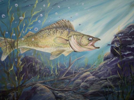 Walleye fish print 8x10 underwater scene  Walleye fish pr...