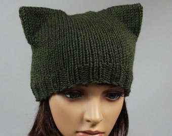 Hat cat.Cat hat. Ladies beanie '' Cat''! Hand knitted, seamless.Knit  Hat Cat Ears. Available in many colours.