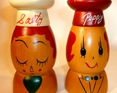FREE US SHIPPING Salty & Peppy Wooden Vintage Collectible Salt and Pepper Shakers