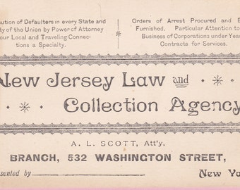 Vintage 1950s New Jersey Law and Collection Agency Advertising Ink Blotter - 20