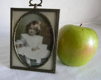 Antique Opalotype Photograph Handtinted Milk Glass Child Portrait Brass Frame