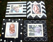 Distressed Picture Frames, Unique Christmas Gift, Set of 4 Picture Frames, Set of 8x10 Frames, Chevron Frame, Wall Gallery