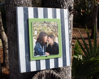Distressed Picture Frame, Wood 8x10 Frame, Navy & Green Picture Frame,  8x10 Picture Frame, Wood Plank Frame, Striped Frame