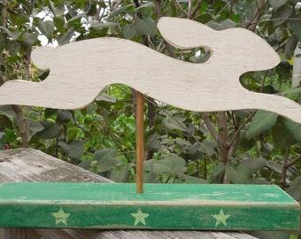 Folk art rabbit/rustic rabbit/primitive/hand crafted/farmhouse style/wooden weathervane/kitchen art/gift/nursery art