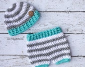 Newborn Hat and Matching Shorts Bright Colors Summer Photo Prop Set