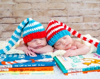 Newborn Striped Dr Seuss Inspired Stocking Cap With Long Tail Twins Photo Prop Set