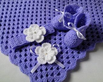Crochet Baby Blanket, Headband and  Booties Set gift afghan