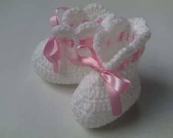 Crochet Baby Booties gift baby white satin ribbon baby shower photo prop