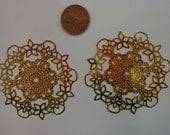 COUPON Code SAVE30 55mm Filigree Finding, Bright Gold Plated Brass (2)