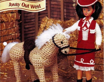 Away Out West Western Outfit and Pony Crochet Pattern Annies Fashion Doll Crochet Club FC21-03