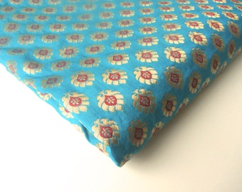 Sea blue gold flowers tie silk India brocade fabric nr 342 REMNANT