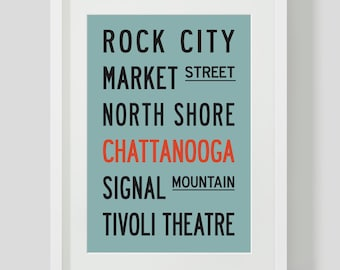 CHATTANOOGA TENNESSEE Subway Sign. Bus Scroll. Destination List - PRINTED 12 x18 inches