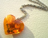 Amber Resin Heart Necklace Charm on 18KGP chain