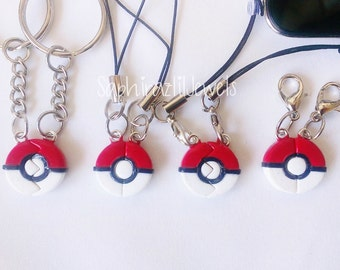 Mini Pokeball Inspired BFF/ Couple's Charms