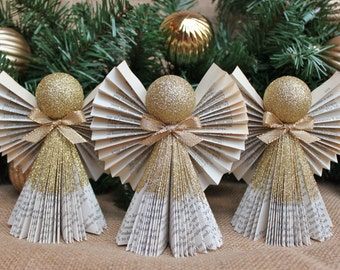 Angel Ornament, Gold Ornament, Christmas Ornament, Book Angel Ornaments, Set of 3 in Gold, MADE TO ORDER
