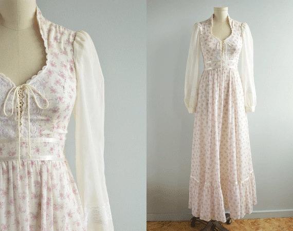 Vintage gunne sax dress 1970s sheer cream lavender pink for Gunne sax wedding dresses