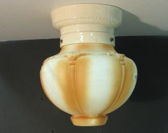 1128 Porcelain Bathroom Kitchen Ceiling Globe Holder w/Original White Milk Glass Globe Rewired Restored