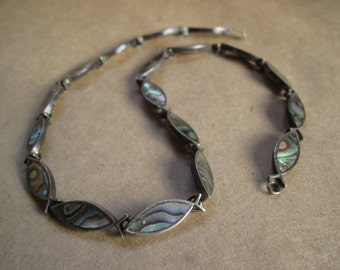 New Price! Mexican Silver and Abalone Fish Necklace with Earrings