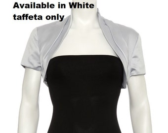 WHITE Taffeta bolero shrug size 12-14 UK , size 10 US
