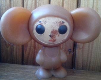 """very rare vintage plastic toy  """"Cheburashka"""", a character  children's cartoon. Made in the USSR."""