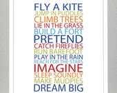 Prints for kids. Inspiration quote prints for children - BE A KID - Bold Boy Colors - 8x10 Poster
