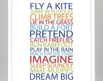 Prints for kids. Inspiration quote prints for children - BE A KID - Bold Boy Colors - 11x14 Poster
