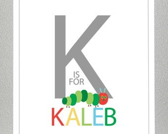 Hungry Caterpillar wall art, Personalized name print - 8x10 print