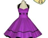 50's vintage dress full skirt uni purple dress rare Tailor Made after your measurements #0005